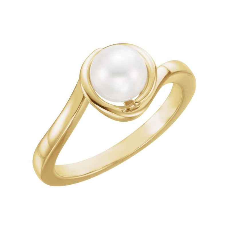 White Freshwater Cultured Pearl Bypass Ring, 14k Yellow Gold (6.5-7mm)