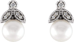White Freshwater Cultured Pearl and Diamond Earrings, Rhodium-Plated 14k White Gold (6-6.5MM) (.07 Ctw, GH Color, I1 Clarity)