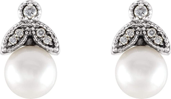 White Freshwater Cultured Pearl and Diamond Earrings, Platinum (6-6.5MM) (.07 Ctw, GH Color, SI2-SI3 Clarity)