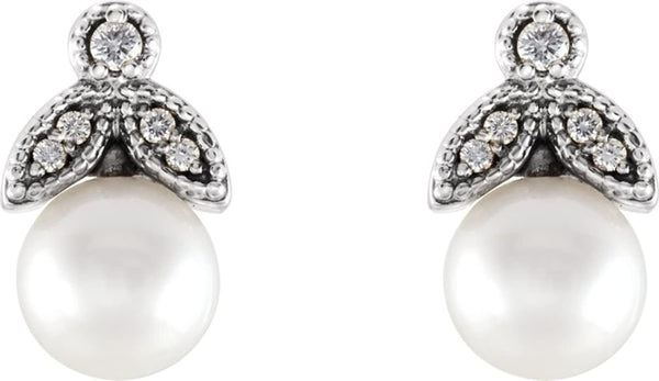 White Freshwater Cultured Pearl and Diamond Earrings, Sterling Silver (6-6.5MM) (.07 Ctw, GH Color, I1 Clarity)