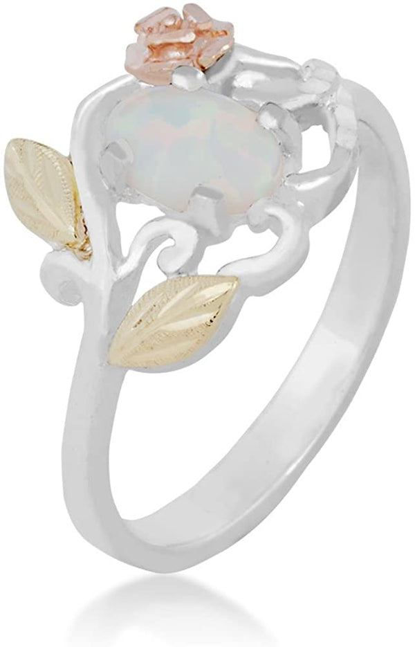 Opal Cabochon and 3D Rose Ring, Sterling Silver, 12k Green and Rose Gold Black Hills Gold Motif, Size 4.75