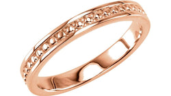 Granulated Raised Edge 2.75mm 14k Rose Gold Stacking Band