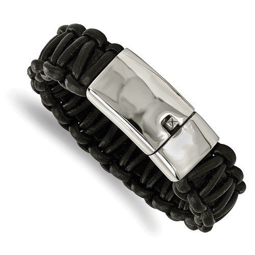 Men's Polished Stainless Steel Rounded Braided Black Leather Bracelet, 8.5 ""