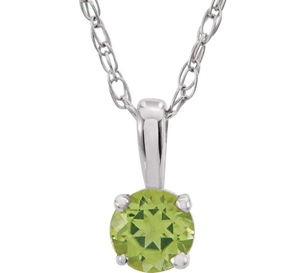 Children's Imitation Peridot 'August' Birthstone 14k White Gold Pendant Necklace, 14""