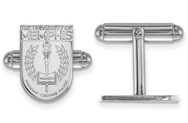 Rhodium-Plated Sterling Silver, University of Memphis Crest, Cuff Links, 15MMX11MM