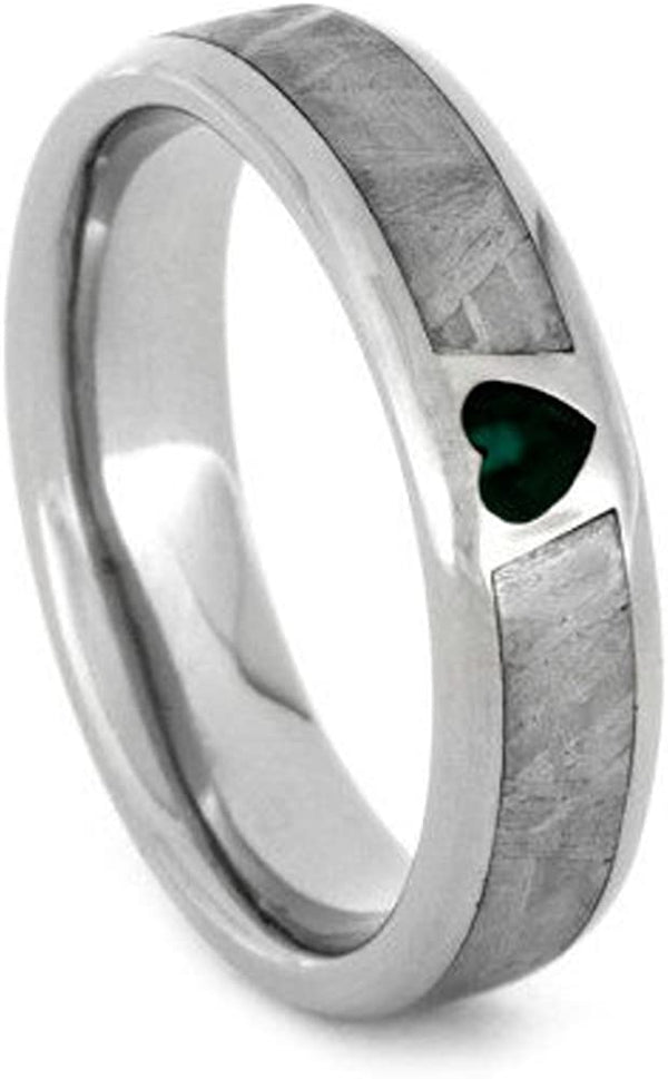 Created Emerald, Gibeon Meteorite 14k White Gold Ring and Green Box Elder Burl Wood Titanium Band, Couples Ring Set, M10.5-F9.5