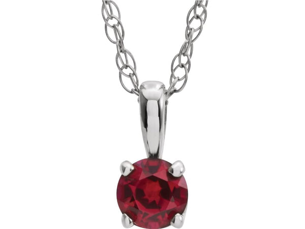 Children's Chatham Created Ruby 'July' Birthstone 14k White Gold Pendant Necklace, 14""