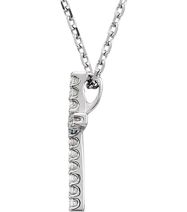 "Petite Diamond Roman Cross Rhodium-Plated 14k White Gold Necklace, 18"" (.33 Cttw, GH Color, I1 Clarity)"