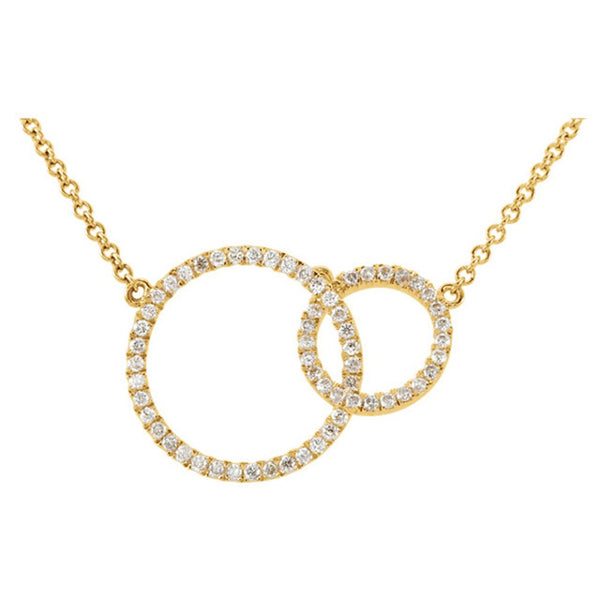 "The Men's Jewelry Store (for HER) Diamond Double Circle Pendant Necklace in 14k Yellow Gold, 18"" (1/3 Cttw)"