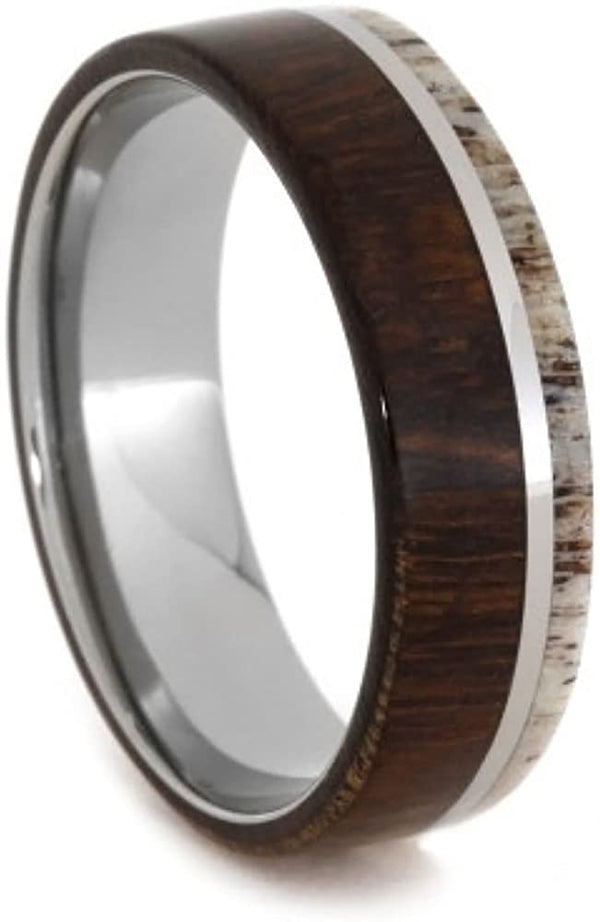 The Men's Jewelry Store (Unisex Jewelry) Deer Antler, Ironwood 8mm Comfort-Fit Titanium Band, Size 13.5