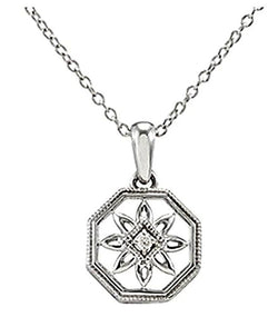 "Diamond Octagon Vintage Style Filigree Flower Sterling Silver Pendant Necklace, 18"" (.02 Cttw)"