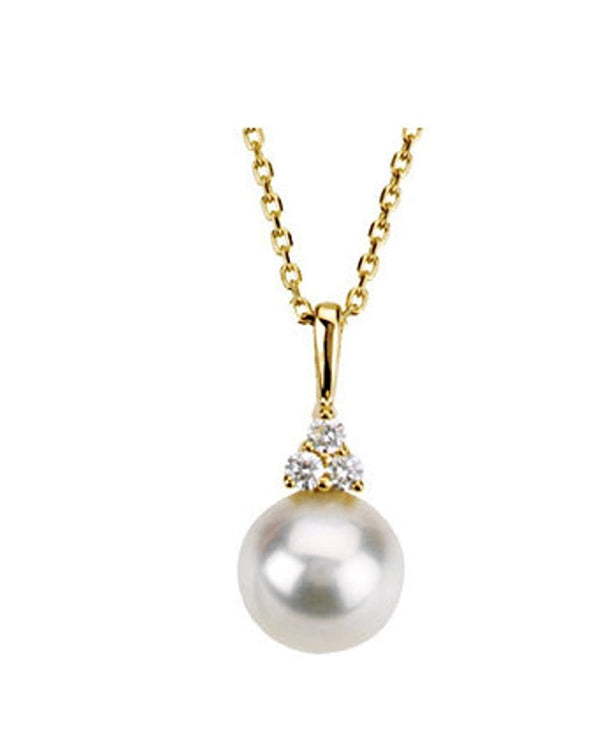 "White Freshwater Cultured Pearl and Diamond Pendant Necklace, 14k Yellow Gold, 18"" (7.5-8MM) (.06 Ctw, Color G-H, Clarity I1)"