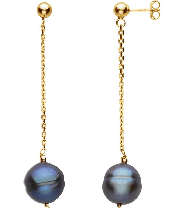 Freshwater Black Cultured Circle Pearl Earrings, 14k Yellow Gold (9-11 MM)