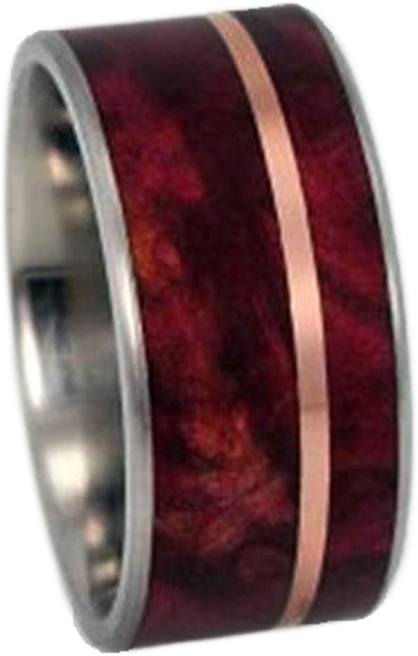 Ruby Redwood, 14k Rose Gold 10mm Comfort Fit Matte Titanium Wedding Band, Size 9.5