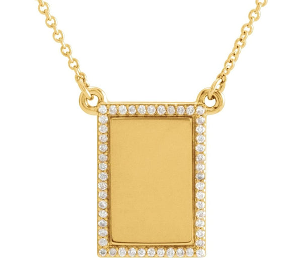 "Diamond Bar Engravable Necklace, 14k Yellow Gold, 18"" ( 0.125 Ctw, G-H Color, I1 Clarity)"