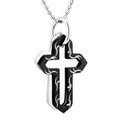Men's Engraved, Black Ion Plated Double Cross Pendant Necklace , Stainless Steel, 24""