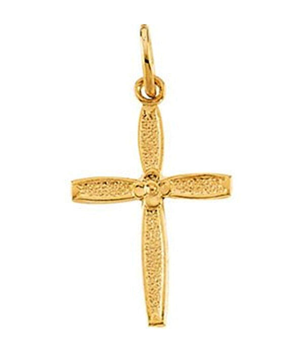 Childrens 14k Yellow Gold Cross Pendant with Flower Design