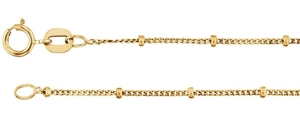 1mm 14k Yellow Gold Solid Beaded Curb Chain, 16""