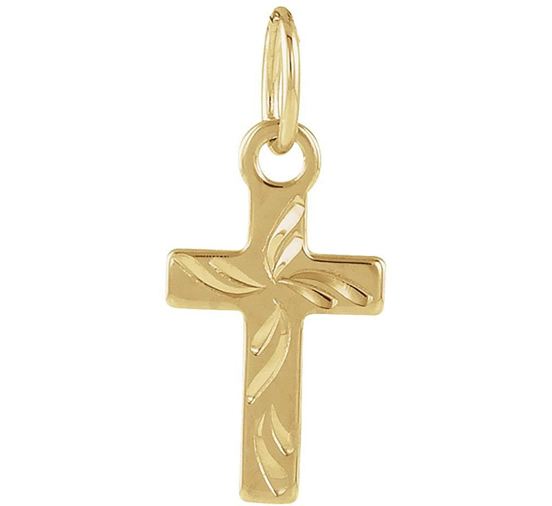 Youth Cross 14k Yellow Gold Pendant (10X6MM)