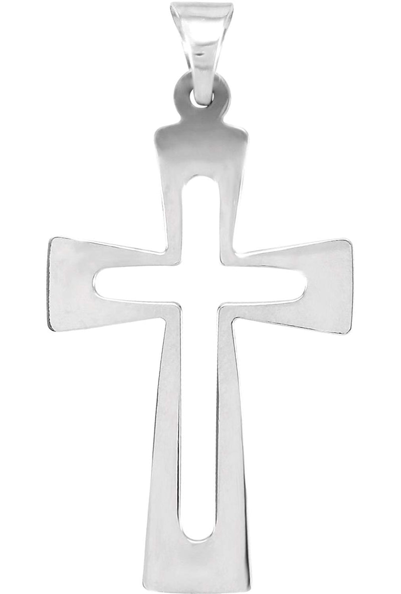 Cut-Out Roman Cross Sterling Silver Pendant (27.50X18.00 MM)