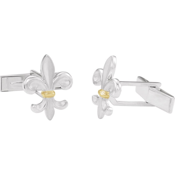 2-Tone Fleur di Lys Lily Sterling Silver, 14k Yellow Gold Cuff Links, 18.5MM
