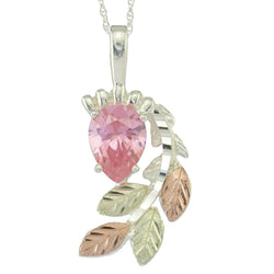 Pink CZ Pear Pendant Necklace, Sterling Silver, 12k Green and Rose Gold Black Hills Gold Motif, 18""