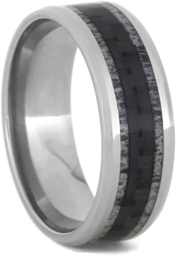Carbon Fiber, Deer Antler 9mm Comfort-Fit Titanium Ring, Size 4.75
