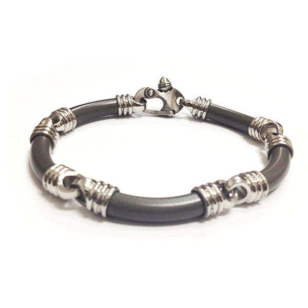 Men's Stealth Collection Gray Titanium 6mm Link Laser Texture Bracelet, 8""