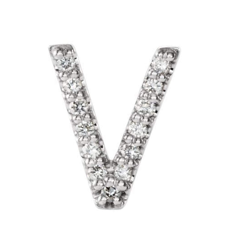 Sterling Silver Diamond Letter 'V' Initial Stud Earring (Single Earring) (.04 Ctw, GH Color, I1 Clarity)