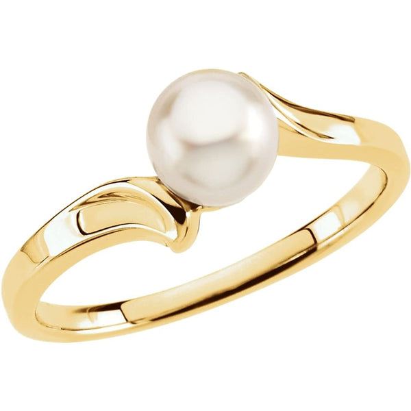 White Akoya Cultured Pearl Bypass Ring, 14k Yellow Gold (5.5mm) Size 4.75