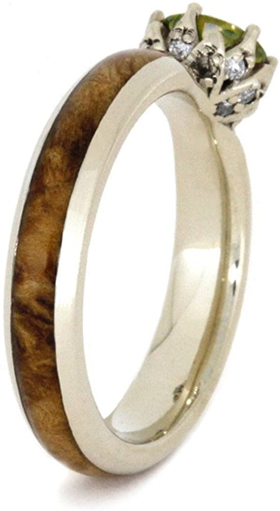 Peridot, Diamond Black Ash Burl 10k White Gold Ring and Gold Box Elder Burl Wood Titanium Band, His and Hers Rings
