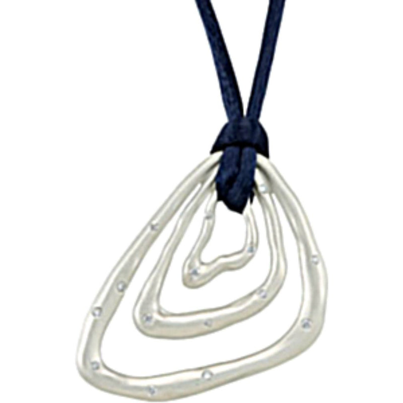 "Diamond Triangle Pendant in Sterling Silver with Navy Cord , 18"" (1/5 Cttw)"