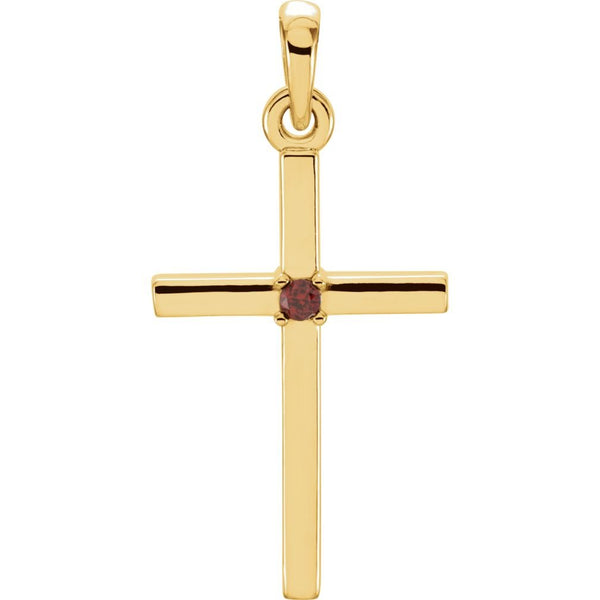 Mozambique Garnet Inset Cross 14k Yellow Pendant (22.65x11.4MM)