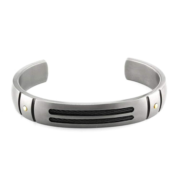 Cable Sport Collection Gray Titanium, Black Memory Cable, 18k Rivets Brushed Cuff Bracelet