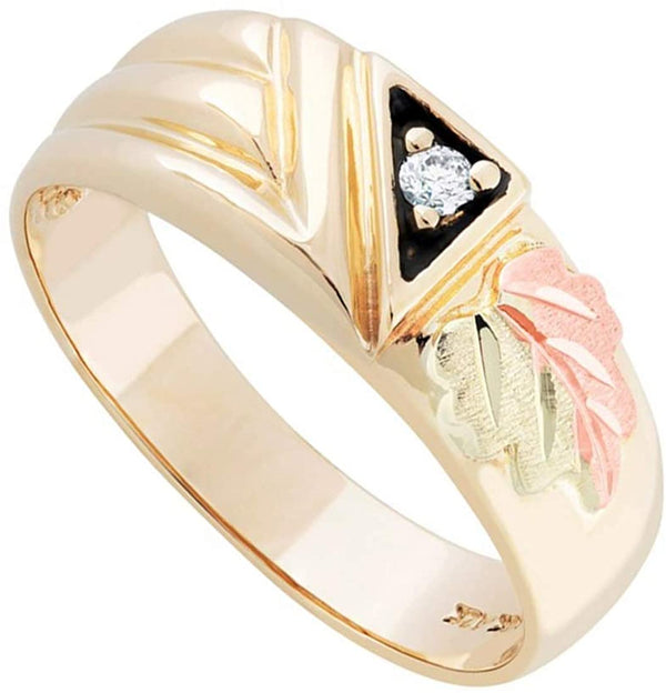 10k Yellow Gold, 12k Rose and Green Gold Diamond Black Hills Gold Band, His and Hers Wedding Ring Set M9.5-F4