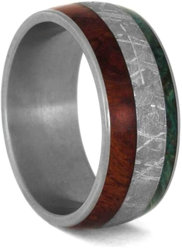 Forever One Moissanite, Meteorite, Afzelia Wood, Green Box Elder Burl Comfort-Fit Titanium Couples Wedding Band Set Size, M10-F6.5