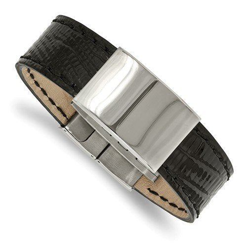 Men's Polished Stainless Steel Black Leather ID Bracelet, 8.5""