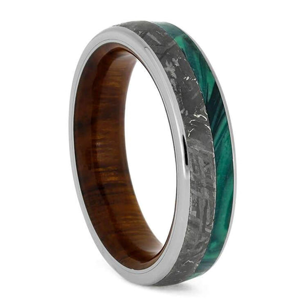 The Men's Jewelry Store (Unisex Jewelry) Gibeon Meteorite, Malachite, Titanium 5.5mm Comfort-Fit Ironwood Sleeve Band