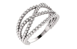 Beaded Criss-Cross Ring, Sterling Silver