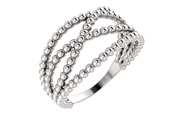 Platinum Beaded Criss-Cross Ring, Size 8