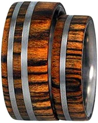 Amazon Rosewood, Titanium Pinstripes Ring, Couples Wedding Band Set, M13.5-F6.5