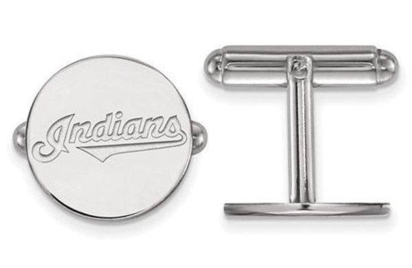 Rhodium-Plated Sterling Silver MLB Cleveland Indians Round Cuff Links, 15MM