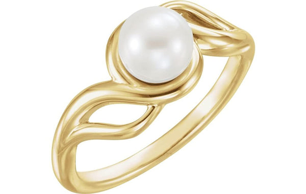 White Freshwater Cultured Pearl Ring, 14k Yellow Gold (7mm) Size 7.5