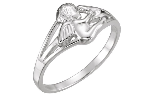 Angel with Dove Holy Ghost Rhodium Plate Sterling Silver Ring, Size 7.25