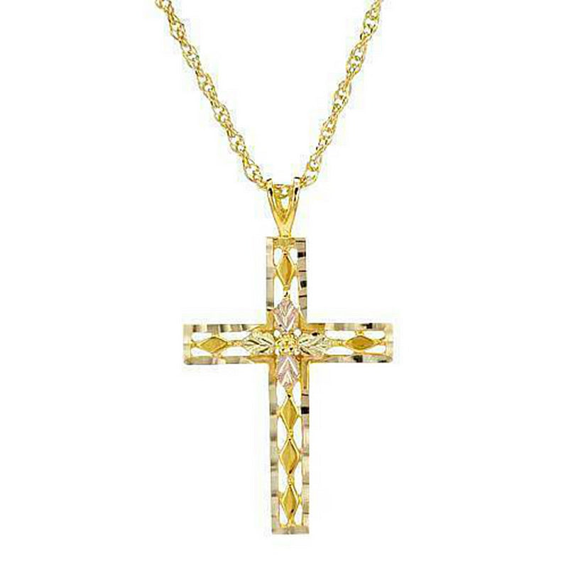Beveled Edge Cross Pendant Necklace, 10k Yellow Gold, 12k Rose Gold Black Hills Gold Motif, 20""