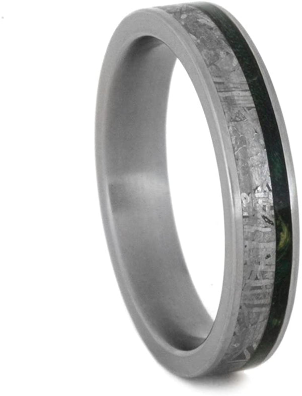 Gibeon Meteorite, Green Box Elder Burl Wood 4mm Comfort-Fit Matte Titanium Band, Size 14.25