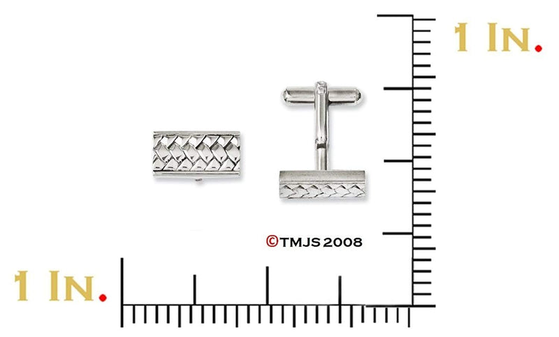Stainless Steel Woven Textured Rectangle Cuff Links, 18X9MM