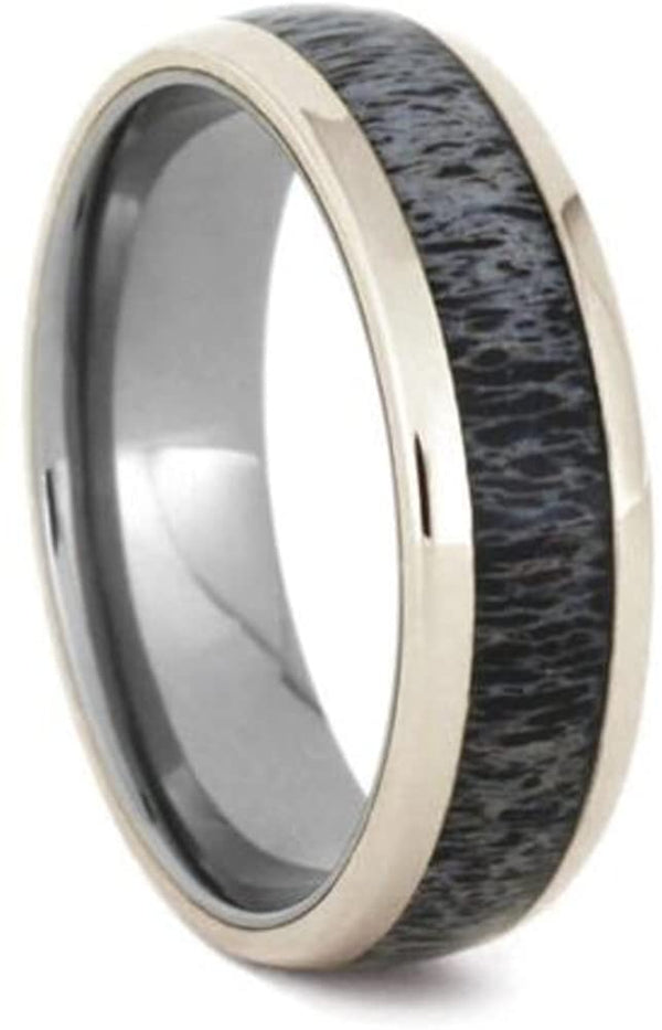 Deer Antler, 14k White Gold 7mm Titanium Comfort-Fit Ring, Size 5