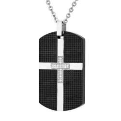 Men's Two-Tone CZ Dog Tag with Cross Pendant Necklace, Stainless Steel, 24""