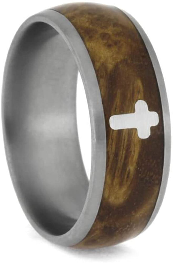 Black Ash Burl with Silver Cross 8mm Matte Comfort-Fit Titanium Band, Size 9.75